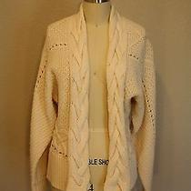 Theory Cream Cable Knit Open Wool Cashmere Cardigan Sweater M Photo