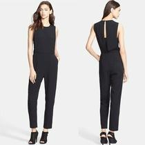 Theory Crepe Remaline Sleeveless Jumpsuit 12 Stretch Black Cocktail Party 495 Photo