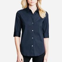 Theory Dallisa Navy Blue 3/4 Sleeve Cotton Nylon Blend Blouse Shirt Size S Photo
