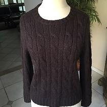 Theory Dark Brown Alpaca Cable Knit Sweater. Size L Photo