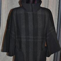 Theory Dark Grey Check Cropped Swing Coat L (Uk 12/14)   Photo