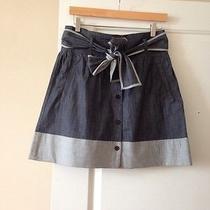 Theory Demin Skirt W Waist Tie & Pockets Sz4 Photo