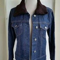 Theory Denim Jacket With Brown Sweater Wrist and Collar Size Small Photo