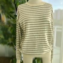 Theory Designer Sweater Lightweight Pullover Crewneck M Striped Cream & Grey Photo