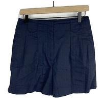 Theory Dress Shorts Size 6 Womens Navy Pleated Front Linen Stretch High Waist Photo