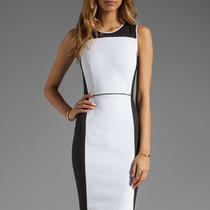 Theory Elite Nyasha White Black Dress    325  New  4 Photo