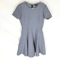 Theory Fit & Flare Albita Dress Size 2 Blue Knit Short Sleeve Stretch Photo