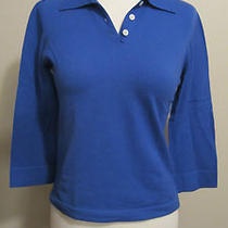 Theory for Bergdorf Goodman Ladies Cashmere Blue Polo Sweater S  Photo