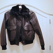 Theory Fur Collar Black Leather Bomber Jacket Size S Photo