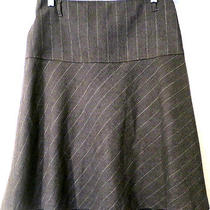 Theory Gray Career Pinstripe Wool Stretch  Fluted Flared Skirt Sz 4 Photo