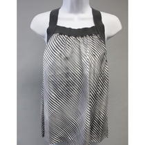 Theory Gray Geometric Striped Silk Spaghetti Strap Racerback Koni Tank Top Sz M Photo