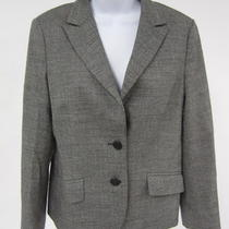 Theory Gray Knit Wool Long Sleeve 2 Button Down Collared Blazer Jacket Sz 10 Photo