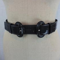 Theory Gray Patent Leather Double Buckle Belt Womens Size M Made in Italy Photo