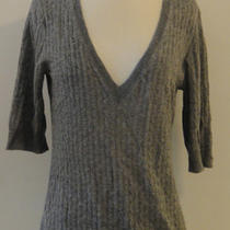 Theory Gray Thin Cable Knit Cashmere v-Neck Sweater - Small Am Photo
