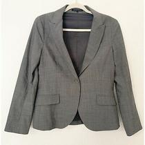 Theory Gray Wool Blend Single Front Button Size 10 Blazer Photo