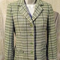 Theory Green Grey Box Tweed Angora Wool Barrie Blazer Jacket Women's Sz 2 Nwot Photo