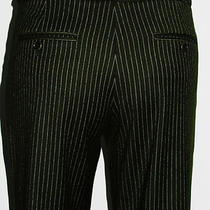 Theory Green Pinstripe Professional Wool Flare Pants Size 6 Photo