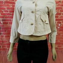 Theory Ivory/pale Pink Cotton Blend 3/4 Sleeve Cropped Ladies Jacket Size 6  Photo