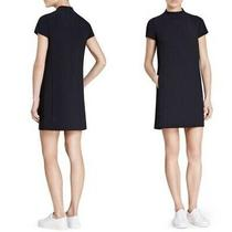 Theory Jasneah Admiral Crepe Mini Dress Navy Blue Mock Neck Womens Size 00 New Photo