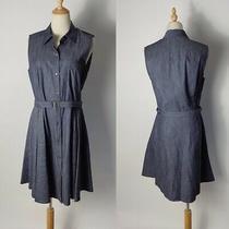 Theory Jaylis Chambray Sleeveless Belted Dress Size 12 Photo