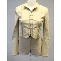 Theory Khaki Hook Eye Front Long Sleeve Cropped Jacket Mini Shorts Outfit Set 4 Photo