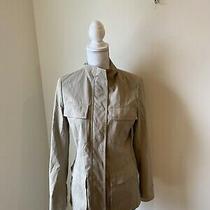 Theory Khaki Jacket Euc Womens Size Small Pockets Collar Belt Loops Photo