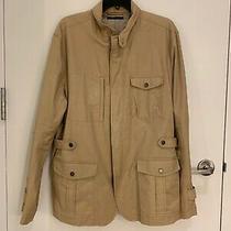 Theory Khaki 'Zaken - Raleigh' Safari Jacket Men's Size Xl Euc Photo