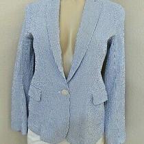 Theory Ladies Blue & White Seersucker Blazer Jacket - Size 12 Photo