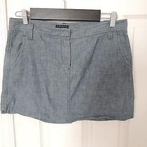 Theory Light Blue a-Line Mini Denim Skirt Size 10 Photo