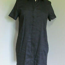 Theory Linen Blend Navy Blue Buttons Down Dress Women's Size P Photo