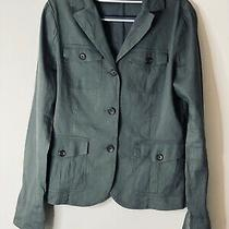 Theory Linen Grey/ Green Jacket Blazer Sz 10 Euc Photo