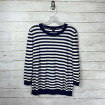 Theory Linen Navy Striped 3/4 Sleeve Sweater Size L  Photo