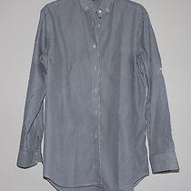 Theory Macie Style  100% Cotton Striped White/gray Oversize Women Shirt Sizem Photo