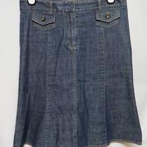 Theory Medium Wash Denim Stretch Fluted Pocket Skirt 8 Photo