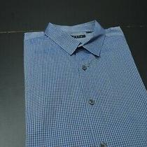 Theory Men Blue Chk Casual Cotton Ls Designer Shirt Size Xl Photo