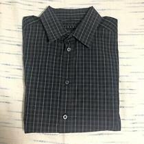 Theory Men's Black Plaid Kyson Long Sleeve Button Up Dress Shirt Size Xl Photo