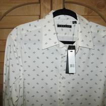 Theory Men's Long Sleeve Sport Shirt Ivory With Deep Navy Print Photo