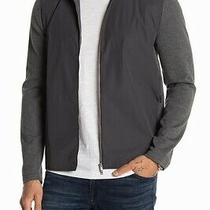 Theory Mens Jacket Gray Size Large L Bellvil Pique Fine Full Zip 345- 037 Photo