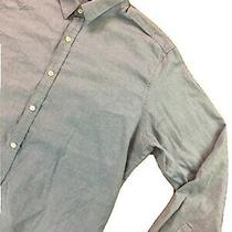 Theory Mens L/s Button Front Shirt Sz Large Casual Dress Light Blue Photo