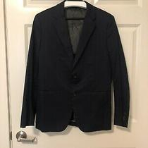 Theory Mens Two Button Blazer Jacket Coat Navy Cotton Blend Size 40r Photo