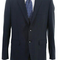 Theory Mens Two Button Notched Lapel Blazer Jacket Navy Blue Wool Size 40 Photo