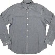 Theory Mens Xl Extra Large Black Blue Gingham Check Button Front Dress Shirt Photo