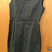 Theory Navy Blue Pinstriped Sheath Crewneck Dress Size 2 Linen Cotton Blend Work Photo