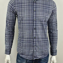 Theory Navy & Grey Plaid Cotton Sylvain Inkster Regular Fit Button Down Shirt M Photo
