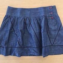 Theory Navy Jean Mini Skirt Size 10 Photo