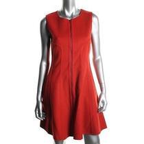 Theory New Bonbi Red Wool Blend Sleeveless Knee-Length Wear to Work Dress 8 Bhfo Photo