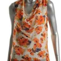 Theory New Codey Orange Silk Floral Print Sheer Cowl Neck Blouse Top S Bhfo Photo