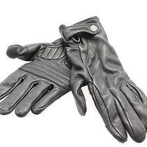 Theory New Deep Black Men's One-Size Moto Leather Winter Gloves 175 333 Photo