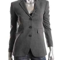 Theory New Ediona Gray Wool Pinstripe Notch Collar Three-Button Blazer Top 2 Photo