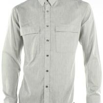 Theory New Gray Dress Shirt Button Up Linen Double Pocket Mens Size Large L 235 Photo